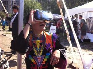 Powwow Dancer Ivanie Aubin-Malo experiencing Samsung GearVR at McGill Powwow - Sept 2015